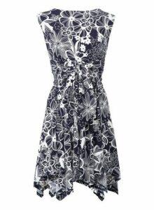Womens *Izabel London Navy Floral Print Hanky Hem Dress, Navy