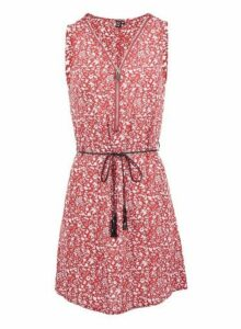Womens *Izabel London Red Floral Print Zip Front Dress, Red
