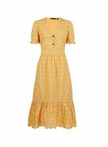 Womens Yellow Tiered Broderie Dress- Ochre, Ochre