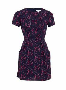 Womens *Blue Vanilla Navy Heart Print Pleated Pocket Tulip Dress, Navy