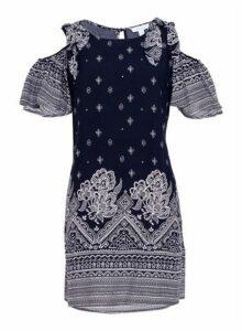 Womens *Blue Vanilla Navy Tie Shoulder Shift Dress, Navy