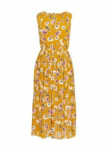 Womens *Blue Vanilla Mustard Pleated Midi Skater Dress- Yellow, Yellow