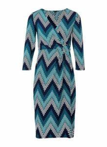 Womens *Izabel London Teal Chevron Print Wrap Dress- Blue, Blue