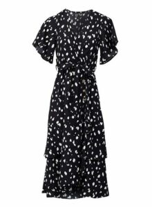 Womens *Izabel London Multi Colour Polka Dot Midi Tea Dress- Black, Black