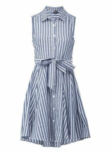 Womens *Izabel London Blue And White Striped Tie Waist Print Skater Dress- Blue, Blue