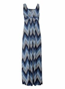 Womens *Izabel London Multi Colour Zig Zag Print Maxi Dress- Navy, Navy