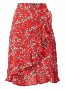 Womens *Izabel London Ditsy Floral Print Pephem Skirt- Red, Red