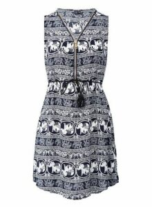 Womens *Izabel London Multi Colour Elephant Print Zip Front Dress- Navy, Navy