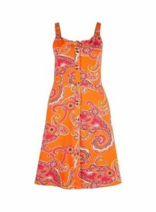 Womens Orange Paisley Print Fit And Flare Dress- Orange, Orange