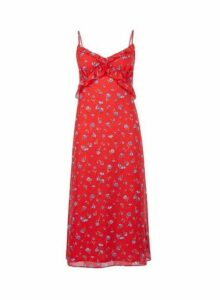 Womens Red Floral Print Chiffon Slip Dress- Red, Red