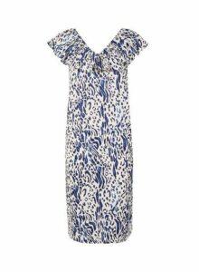 Womens **Tall White Leopard Print Frill Dress- Multi, Multi