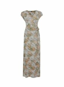 Womens Cream Tropical Print Wrap Maxi Dress- Cream, Cream