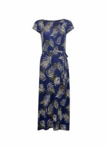 Womens Navy Ruched Jersey Midi Dress- Blue, Blue