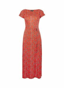 Womens Red Ruched Jersey Midi Dress- Red, Red