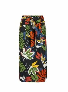 Womens Black Tropical Print Midi Skirt- Black, Black
