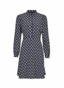 Womens Blue Printed Fit And Flare Shirt Dress- Blue, Blue