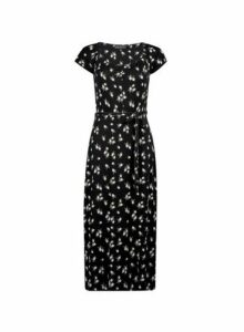 Womens Black Rouched Jersey Midi Dress- Black, Black