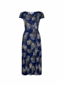 Womens Petite Navy Tropical Print Ruched Midi Dress- Blue, Blue