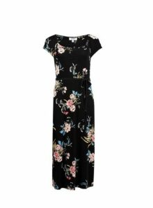 Womens Petite Black Floral Print Ruched Midi Dress- Black, Black