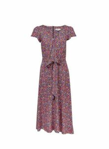 Womens **Billie & Blossom Tall Ditsy Print Midi Dress- Purple, Purple