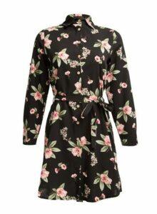 Womens *Tenki Black Floral Print Shirt Dress- Black, Black