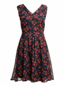 Womens *Tenki Navy Floral Print Skater Dress- Blue, Blue