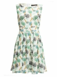 Womens *Tenki White Leaf Print Skater Dress, White