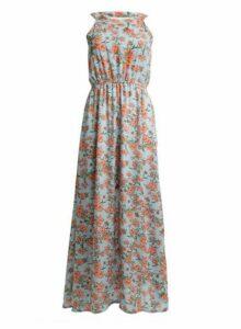 Womens *Tenki Blue Floral Print Maxi Dress, Blue