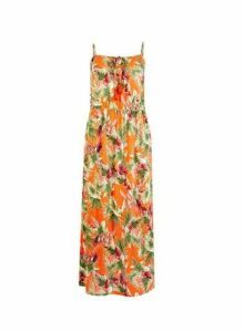 Womens Orange Tropical Print Maxi Dress- Orange, Orange