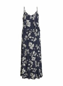 Womens **Vila Navy Floral Print Maxi Dress- Blue, Blue