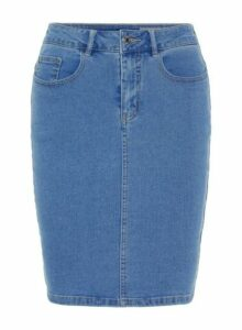 Womens **Vero Moda Navy High Waist Denim Skirt- Blue, Blue