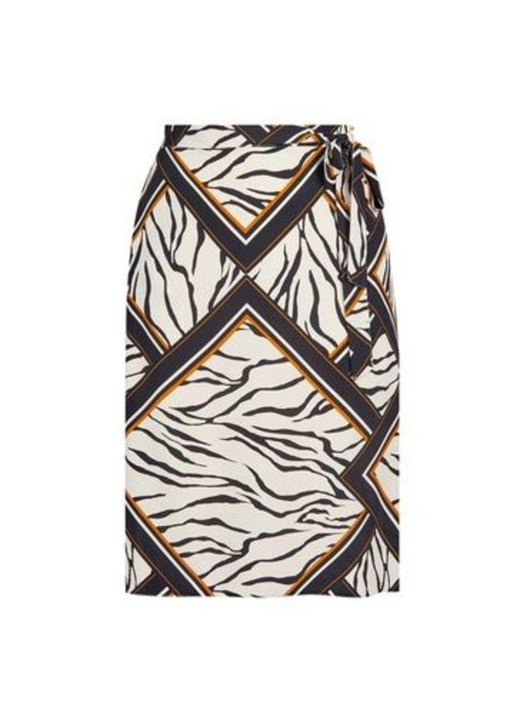 Womens **Dp Curve Zebra Print Midi Skirt- Multi Colour, Multi Colour
