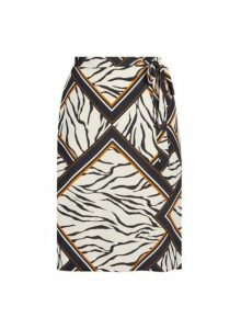 Womens **Dp Curve White Zebra Print Split Midi Skirt- Multi Colour, Multi Colour