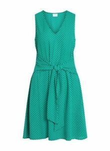 Womens **Vila Green V-Neck Polka Dot Print Dress- Green, Green