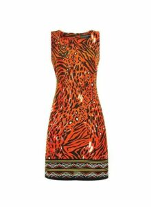 Womens Red Animal Boarder Shift Dress- Red, Red