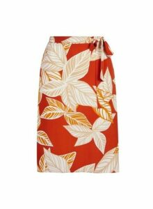 Womens **Dp Curve Leaf Print Midi Skirt- Red, Red