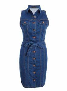 Womens *Quiz Blue Denim Button Front Bodycon Dress- Blue, Blue