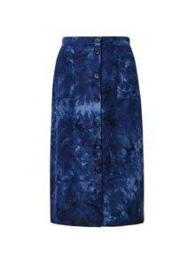 Womens Blue Tie Dye Midi Skirt- Blue, Blue