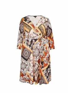 Womens **Dp Curve Multi Coloured Scarf Jersey Wrap Dress- Multi Colour, Multi Colour