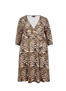 Womens **Dp Curve Brown Zebra Print Wrap Dress- Black, Black