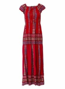 Womens *Izabel London Red Boho Maxi Dress, Red