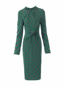 Womens *Jolie Moi Green Geometric Print Long Sleeve Midi Dress, Green