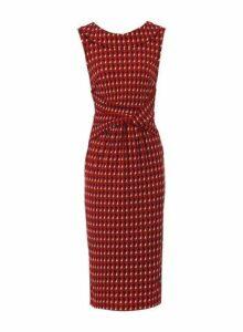 Womens *Jolie Moi Red Geometric Print Fold Collar Dress, Red