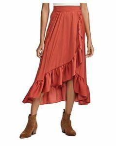 Maje Johno Asymmetric Ruffled Midi Skirt