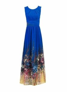 Womens *Jolie Moi Blue Print Maxi Dress- Blue, Blue
