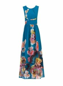 Womens *Jolie Moi Blue Floral Print Chiffon Maxi Dress, Blue