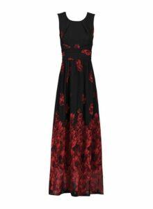 Womens *Jolie Moi Black Floral Print Chiffon Dress- Black, Black