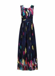 Womens *Jolie Moi Navy Pattern Chiffon Dress- Navy, Navy