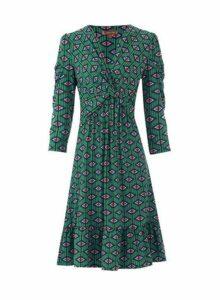 Womens *Jolie Moi Green Geometric Print Fit And Flare Dress, Green