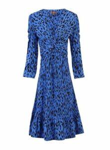 Womens *Jolie Moi Blue Leopard Print Fit And Flare Dress- Blue, Blue